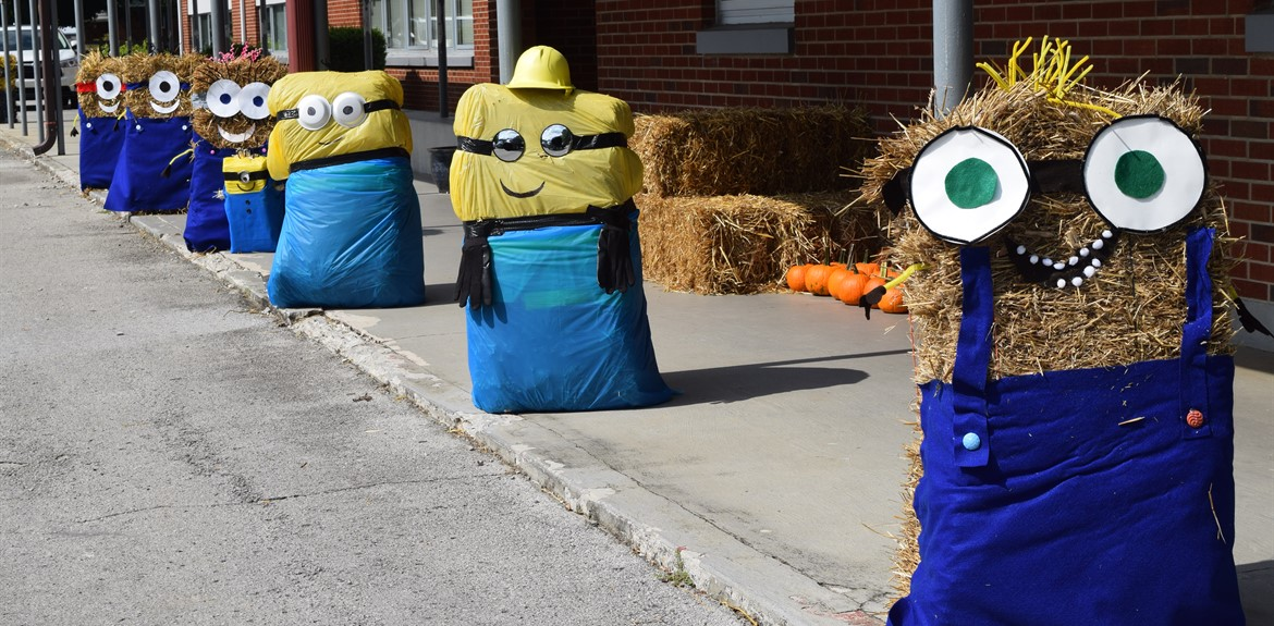 Walker's decorations featured hay bales dressed as Minions from the movie Despicable Me
