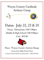 Wayne County Cardinals Archery Camp