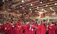 Confetti flies as graduation ends