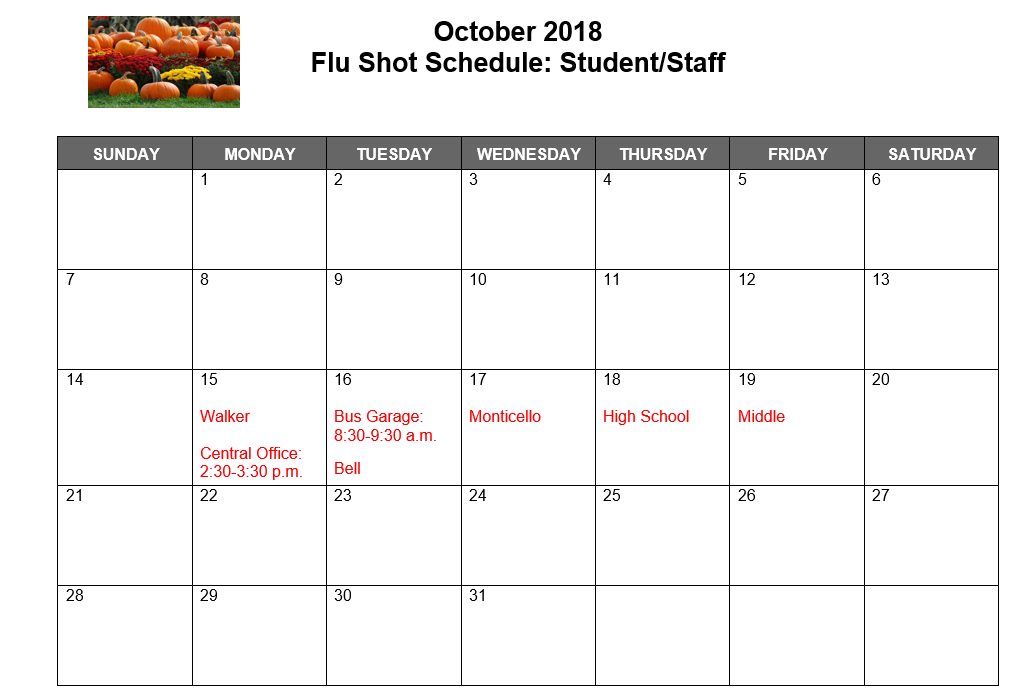 Dates of flu shots for each building
