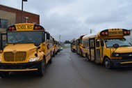 Buses head to distribution sites