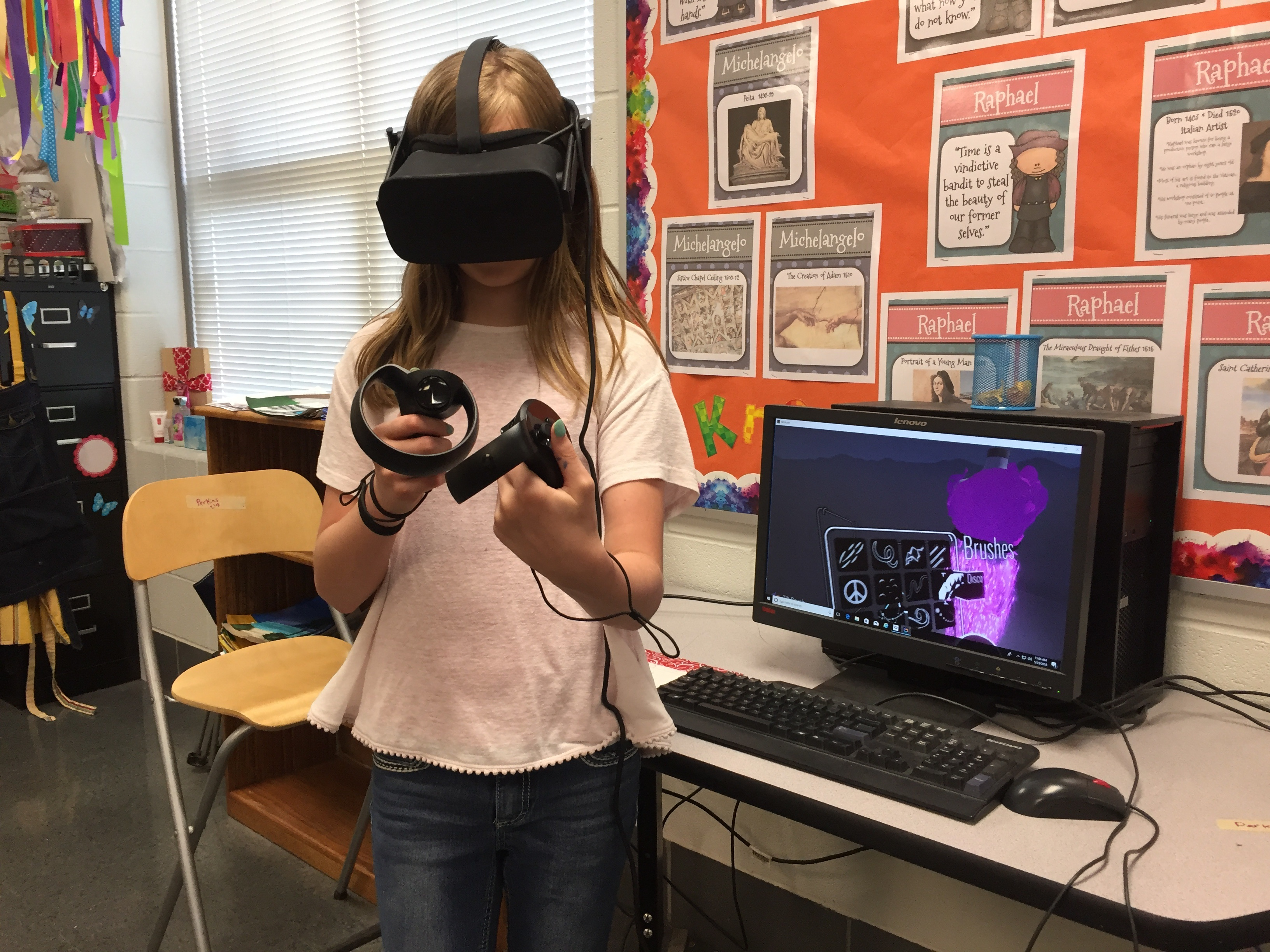 Emily Pitman puts the finished touches on her dress using the Google Tilt Brush