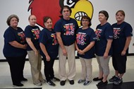 (L-R) Bell nutrition services employees; Patricia Harmon, Amanda Vaughn, Teresa Hancock, JoE Shepperd, Paula Sutton, Linda Morris, Rebecca Crabtree (Manager)