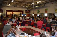Parents dined in the cafeteria while learning about the new Reading Horizons program