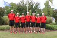 Golf Team poses for a group photo at state