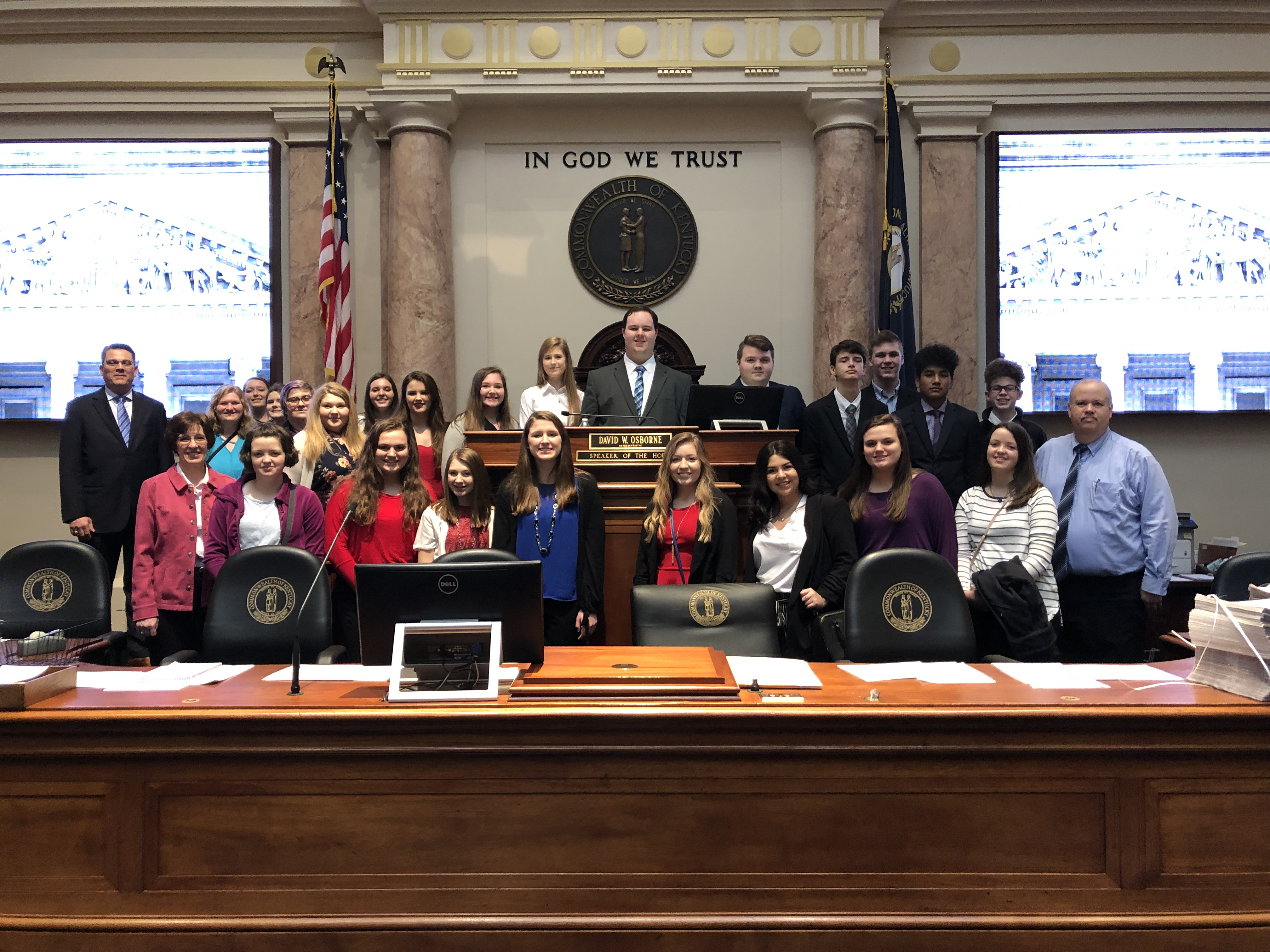 FBLA Students posed for a photo in the House of Representatives