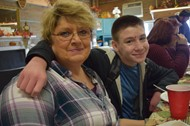 Learning Academy staff member Barbara Laws-Simpson enjoyed dining with student Trenton Neal