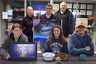 (T-B L-R) Jeanne Tate, Jacob Hill, Art Teacher Tim Withers, Andrea Huffer, Rylee Keith, Cainen Rice