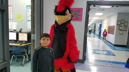 Monticello Elementary students enjoyed seeing the Cardinal mascot