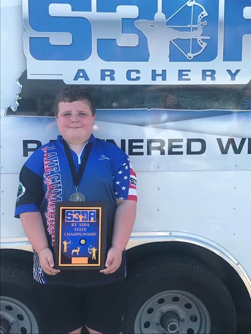 Brody Shelton state S3DA Outdoor Target Tournament June 29 first place in Elem Male Traditional