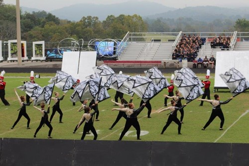 WCHS Color Guard practices for marching band season