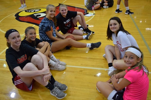 Campers enjoying being with their athletic mentors