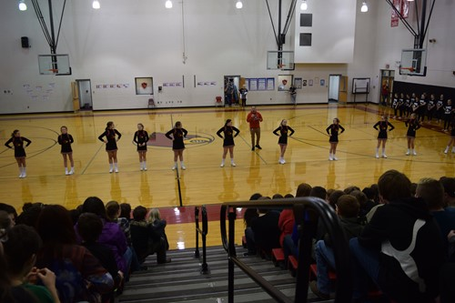 Cheerleaders participate in Pep Rally