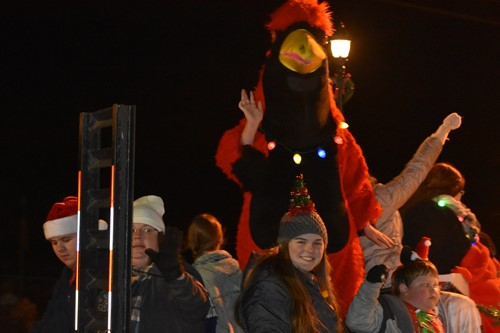 Student Government float included our mascot, the Cardinal during the Christmas Parade