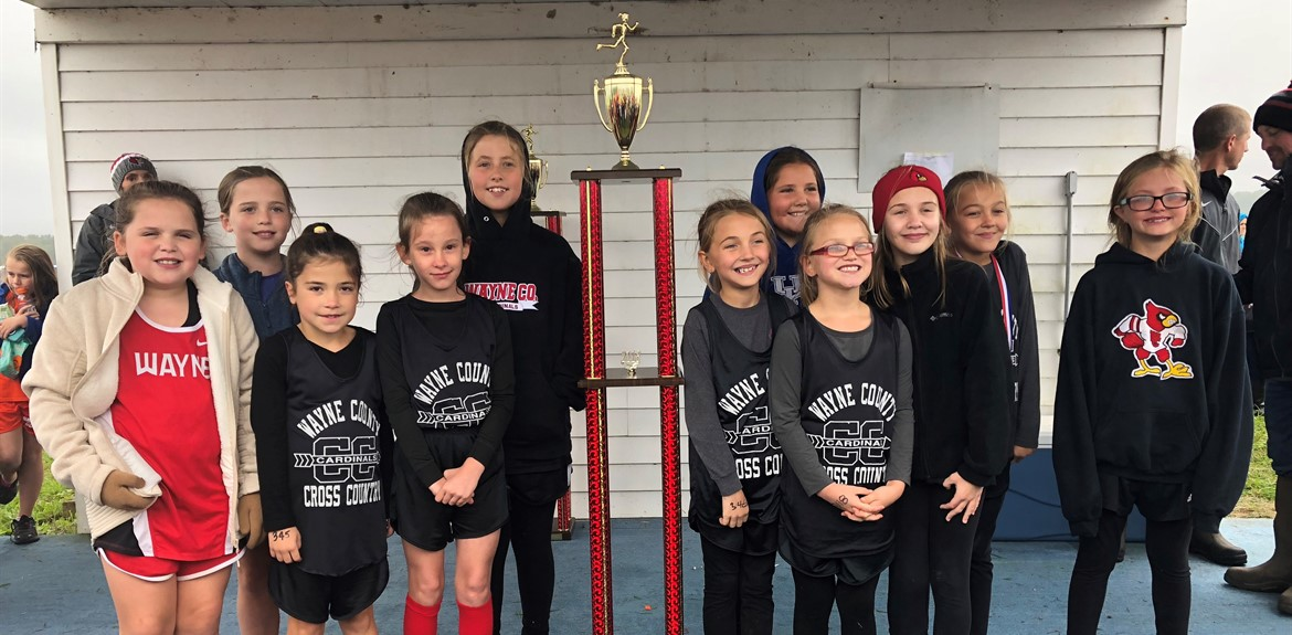 Girls Elementary Cross Country Team placed first at the Cave Lake Fall Classic on October 20th