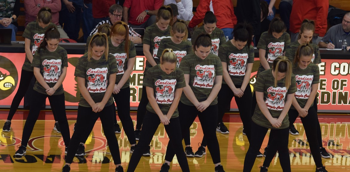 The WCHS Dance Team performing at the doubleheader basketball game on January 25th