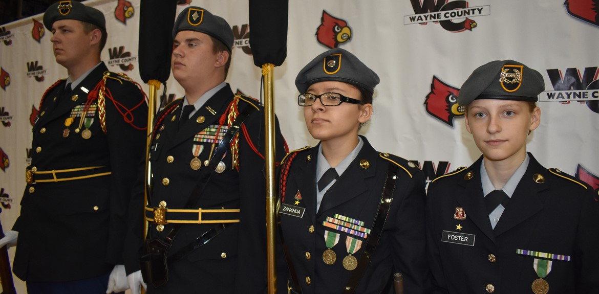 JROTC Color Guard participates in opening day for staff