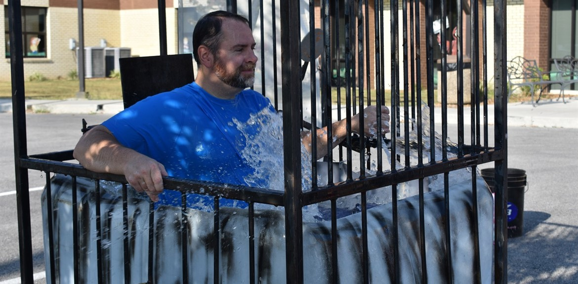 Monticello Elementary Assistant Principal Mitchell Gregory went down in the dunking machine on High Attendance Day