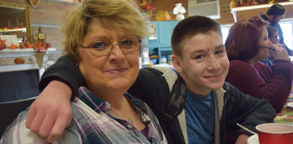 Learning Academy staff member Barbara Simpson-Laws enjoyed dining with student Trenton Neal