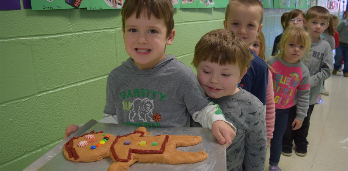Sharlene Prince's Preschool Class takes Gingerbread man to Kitchen to be baked