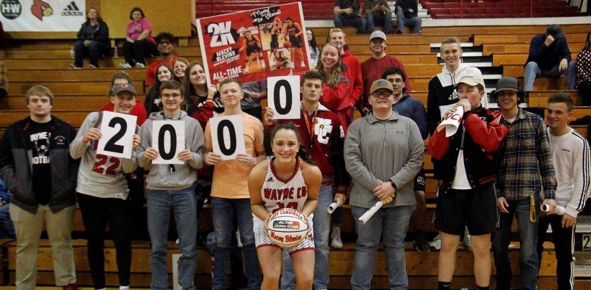 Macey Blevins celebrates being in the 2,000 point club