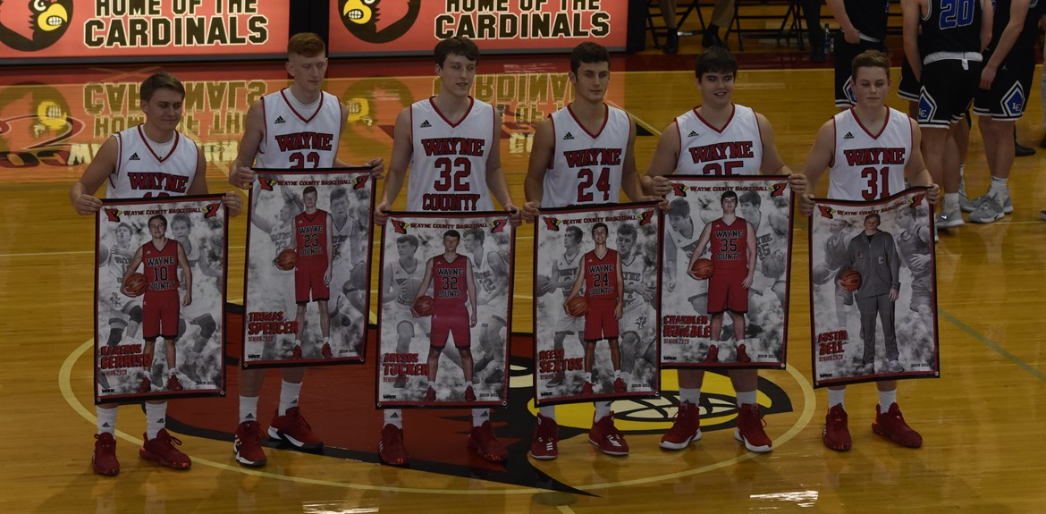 Seniors from the Boys Basketball Team