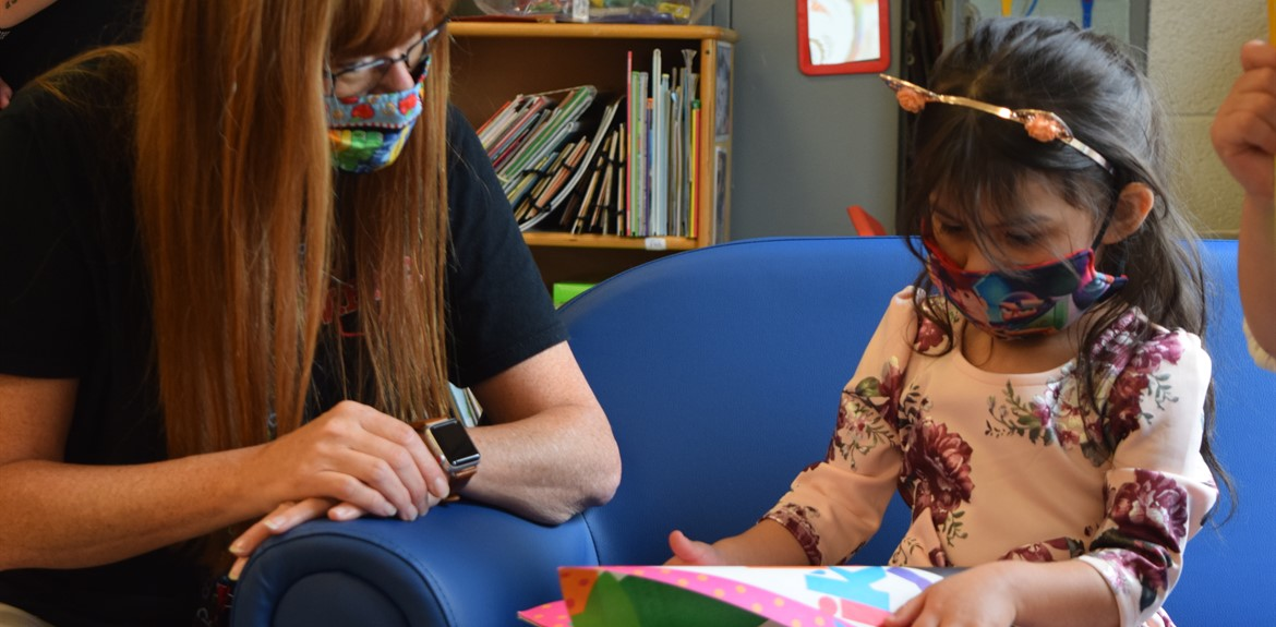 Preschool Teacher Nicki Prince spent time with her new student Victorya Perez at Orientation.
