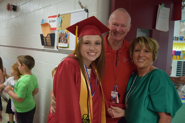 Gabby Gregory with her parents Walker Early Learning Center Teachers Stewart and Amy Gregory