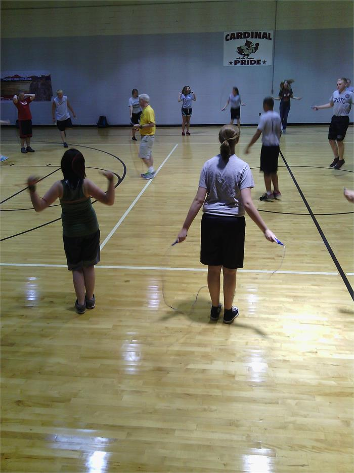 Cadets enjoy jump rope activity during physical training