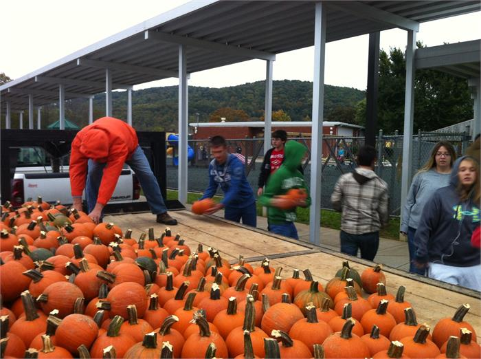 Students from the High School grew pumpkins for our students to enjoy!