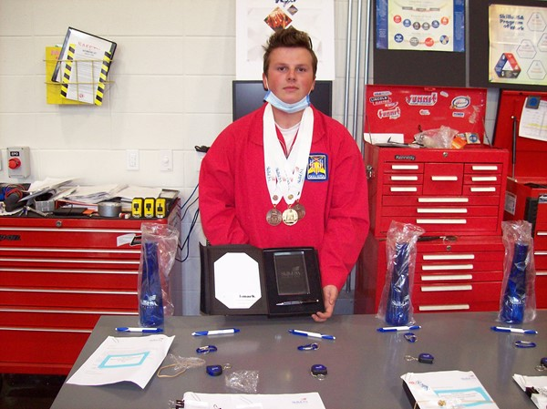 student with medals