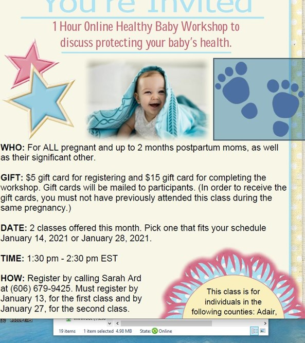 Online Healthy Baby Workshop