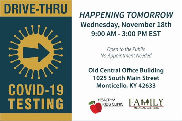 Flyer for Drive-Thru testing Nov. 18