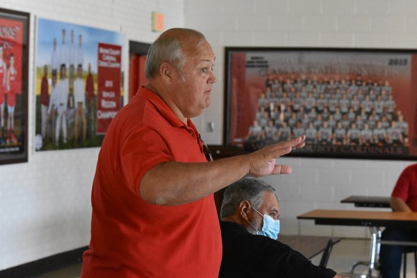 Interim Transportation Director Johnny Young conducted a training session for drivers