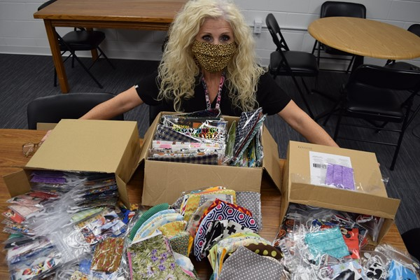 Health Coordinator Patty Burton shared some of the masks that Carlton sent to the kids at Walker Early Learning Center