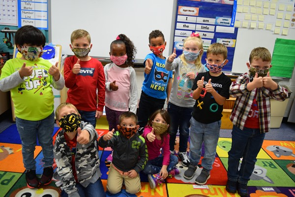 LaShanda Neal's class gave their new masks a thumbs up
