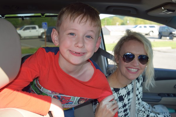 Lochlan Phillips and his mom Jessica, who used to teach at Bell Elementary