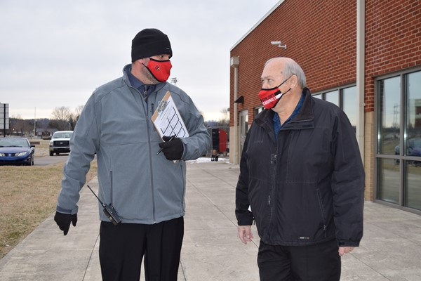 Asst. Principal Chris Patton and Transportation Manager Johnny Young oversaw the drill