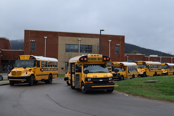 buses line up to distribute meals to kids