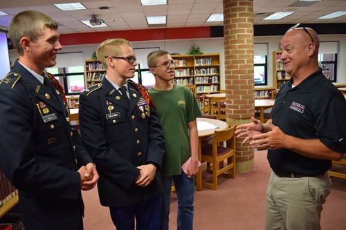 JROTC instuctees and instructor, Mr. Sands