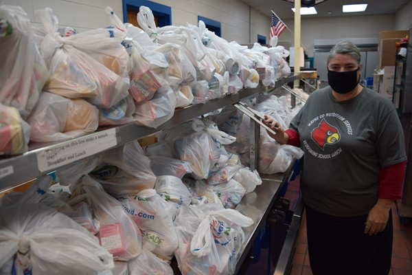 Monticello Elementary cooks had plenty of bags stocked with food