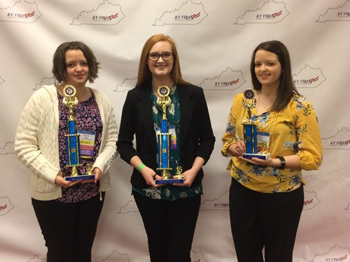 (l-r) State winners: Rachel Allen, Bailey Wright, Renee Allen
