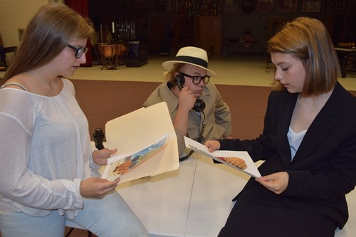 (l-r): Student actors Jasmine Wise, Matthew Piercy, and Destanie McGuire practicing for the performance