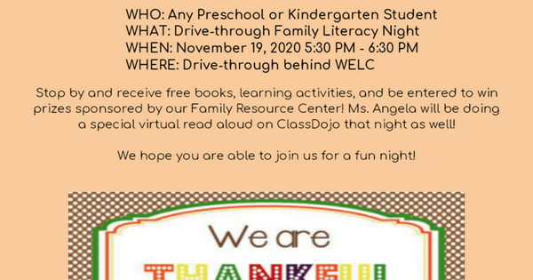 Drive in family literacy night flyer