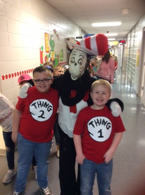 Second graders Madden Brake and Raylan Lewis met Cat in the Hat
