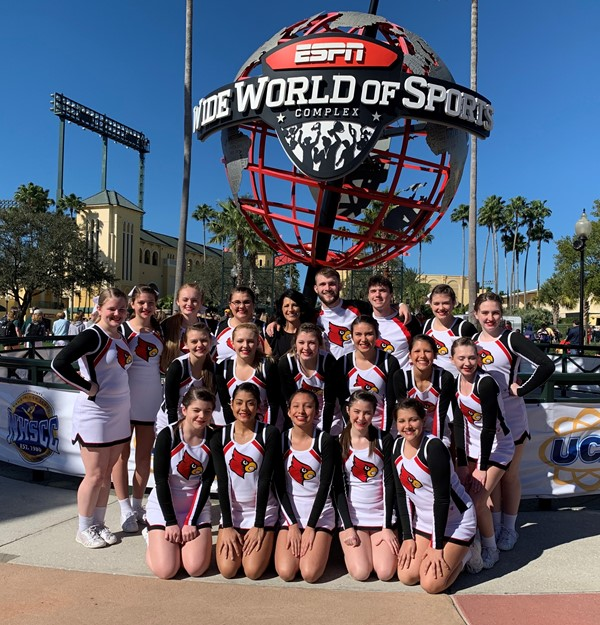 Cheerleaders in front of Wide World of Sports complex