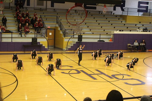 Dance team during their pom routine