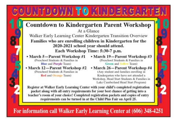 Countdown to Kindergarten Parent Workshops important step in registering for kindergarten