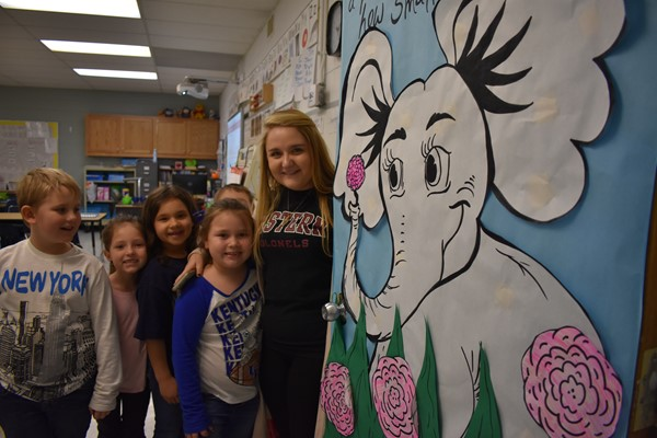 Bethany Latham and her students showed off their door