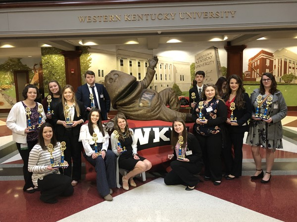 FBLA winners posed in front of the WKU mascot